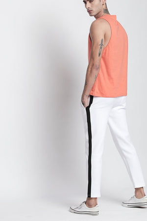 White Slim Fit Ankle Length Trackpant