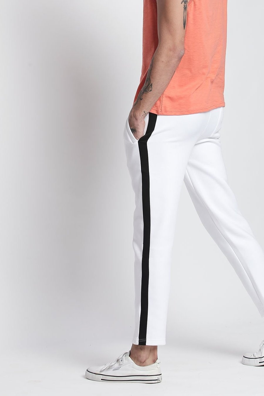 Hemsters Trackpant 28 White Slim Fit Ankle Length Trackpant