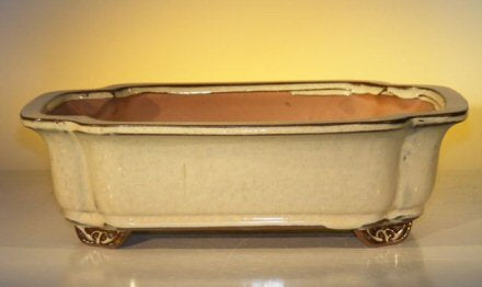 Beige Ceramic Bonsai Pot - Rectangle-12.0 x 9.5 x 3.375