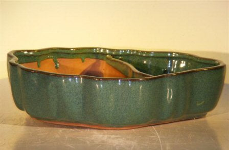 Blue/Green Ceramic Bonsai Pot with Scalloped Edges - Land/Water Divider - 9.5 x 7.5 x 2.25
