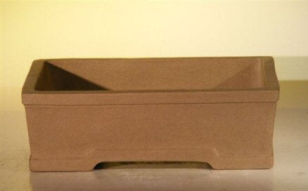 Tan Unglazed Ceramic Bonsai Pot - Rectangle-8 x 6.125 x 2.5