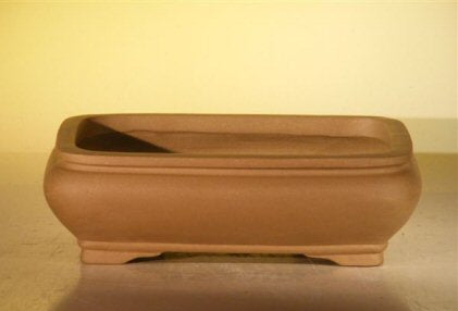 Tan Unglazed Ceramic Bonsai Pot - Rectangle -10 x 7.825 x 3.125