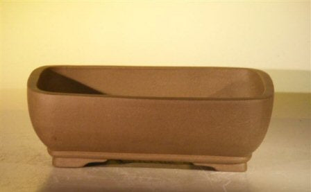 Tan Unglazed Ceramic Bonsai Pot - Rectangle-10.7 x 7.9 x 3