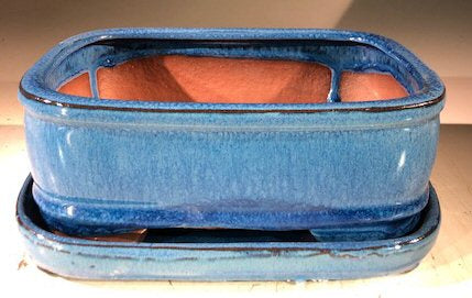 Blue Ceramic Bonsai Pot - Rectangle-With Humidity Drip Tray-7 x 5.5 x 3