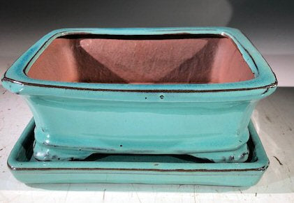 Light Blue Ceramic Bonsai Pot - Rectangle-With Humidity Drip Tray-7 x 5.5 x 3