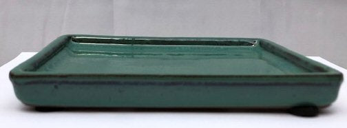 Green/Blue Ceramic Humidity / Drip Tray - Rectangle-7.25 x 5.5 x .5OD-6.5 x 5.0 x .25ID