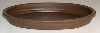 Brown Bonsai Pot  for Forest Group or Penjing  - Oval -17.0 x 12.0 x 2.0 OD-15.0 x 10.0 x 2.0 ID