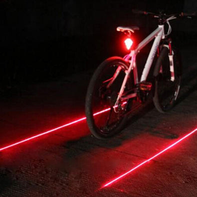 Safety Warning Night Bicycle Rear Light Bike Lamp 5 LED Light 2 Lasers-Inbike Cycling