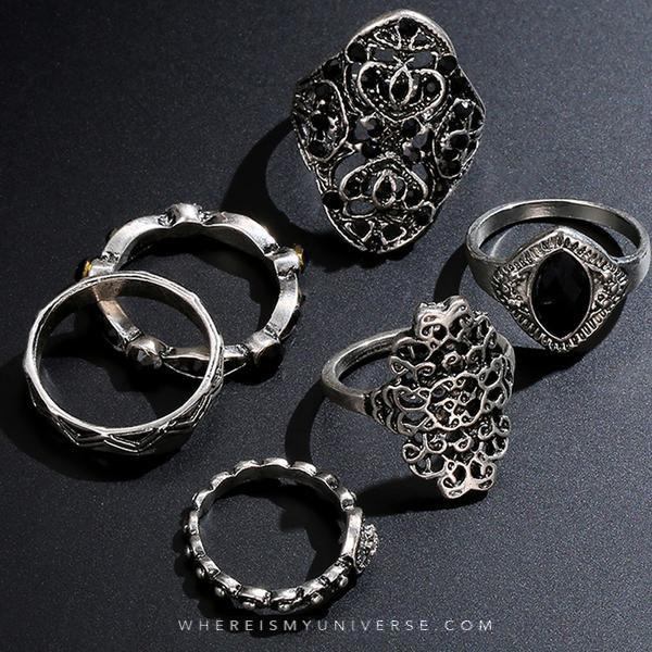 Moon Temple Ring Set (6 Pieces)