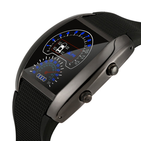 Outdoor Aviation Turbo Dial Flash LED Watch Sports Car Meter