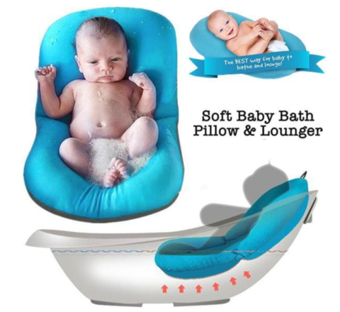 Safe, Soft Bathing Cushion in a variety of colors and shapes for baby