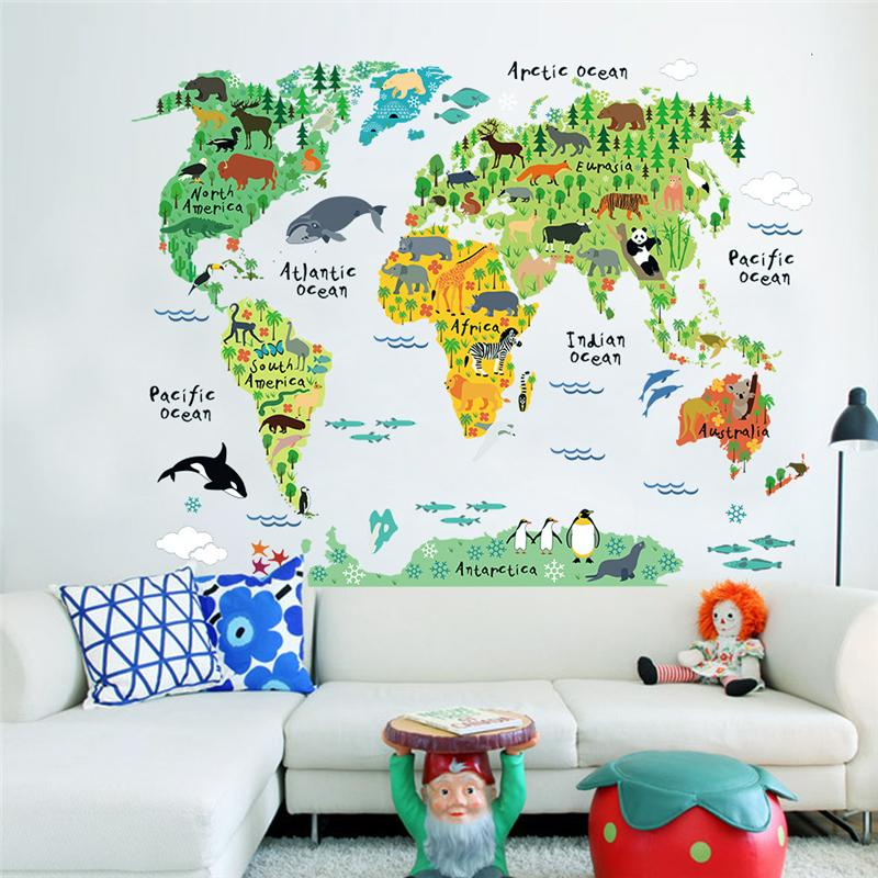 world map with animals wall stickers for kids room