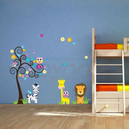 Beautiful zoo animals wall stickers for kids room