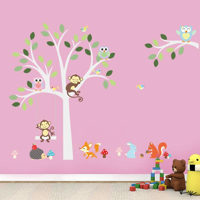 Cute jungle animals wall stickers for kids room!
