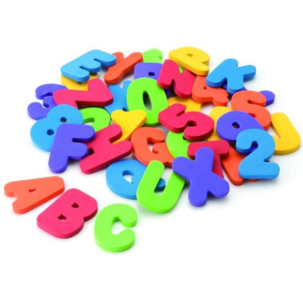 36PCs Alphanumeric, colorful Bath Puzzle For endless hours of fun in the bath tub