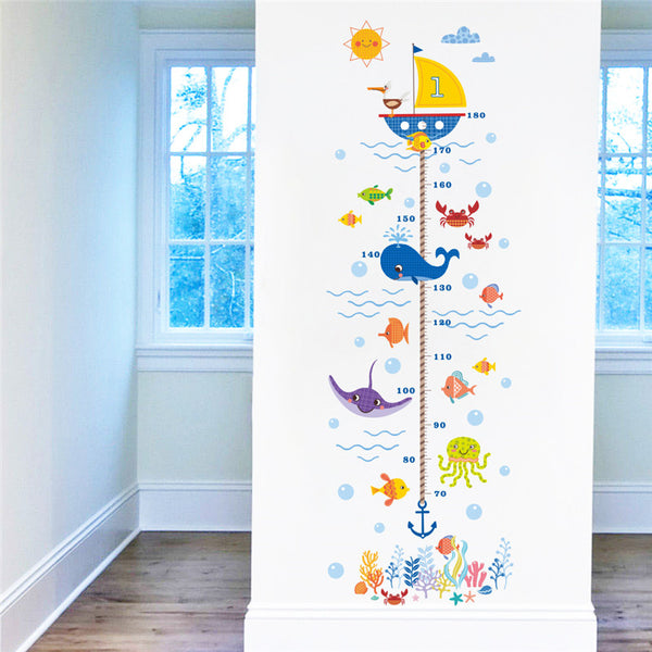 Cartoon Shark Fish & Boat Height Measure Wall Sticker For Kids Room