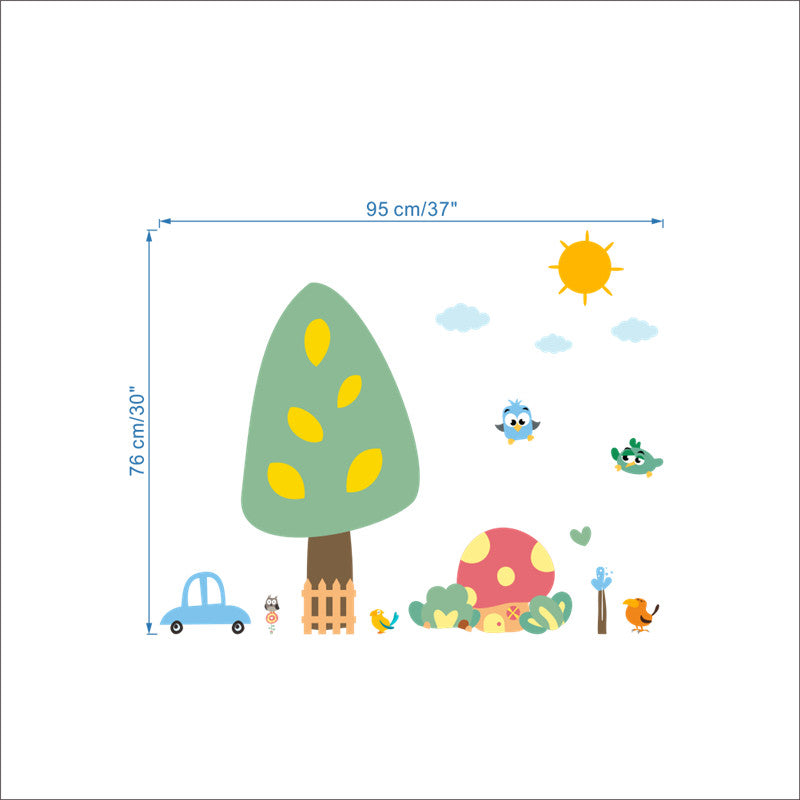 Family Forest, Tree, Car, Sun &  Birds Wall Sticker!