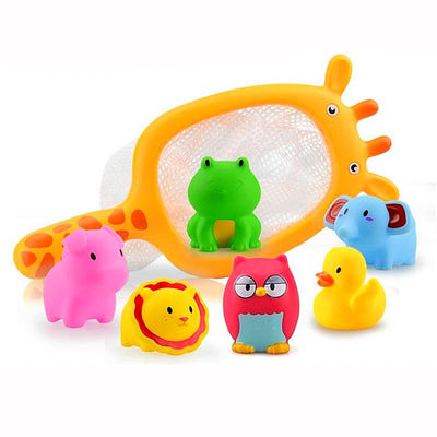 New Trendy toy Bath. Catching toy animals by colorful network in the bath.