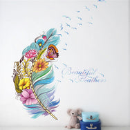 beautiful feathers with flowers wall sticker!