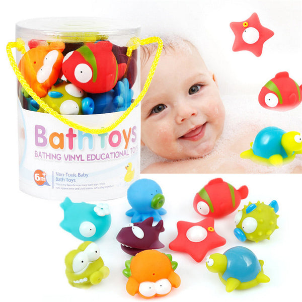 9 PC Cute Cartoon Animal Dolls Baby Bath Toys - Mamimommy.net