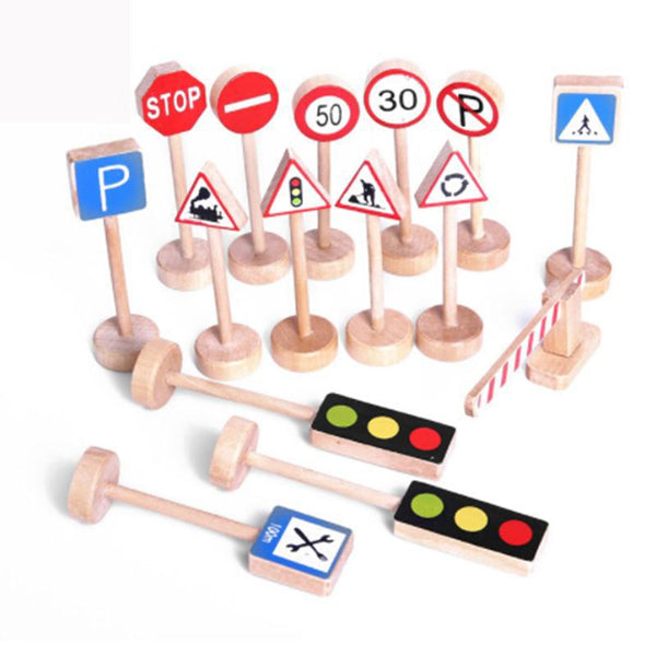 Educational toy with 15PCS Colorful Wooden Street Traffic Signs.