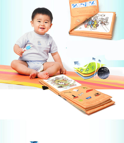 Early childhood educational puzzle water with magic graffiti cloth book.