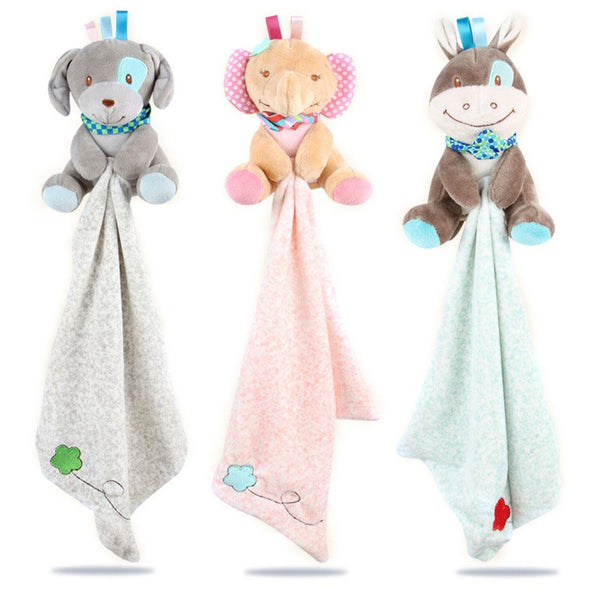 Soft animal plush toy with care blanket, will give your child endless joy. Buy now - and make your child happier! This plush doll is useful because it provides a ready playmate for the baby/child and a friendly face to fall asleep to. It is also very affordable and have attached blnket.  Made from baby soft plush, this cute and comfort towel is gentle against your little one's skin. Suitable from birth. the Padding ton comfort towel  makes a great gift for newborns