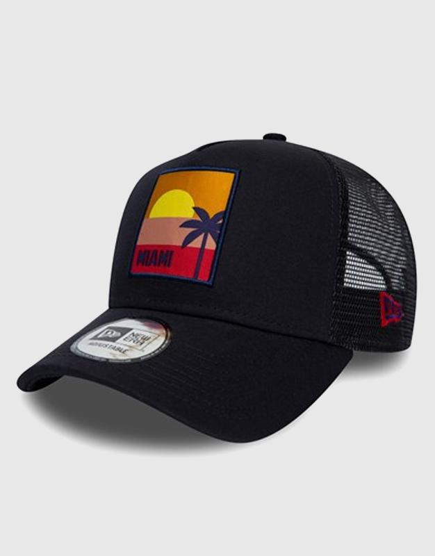 NEW ERA MIAMI LOCATION BLACK A-FRAME TRUCKER ניו ארה כובע