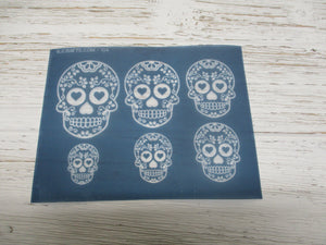 sugar skull silkscreen for clay