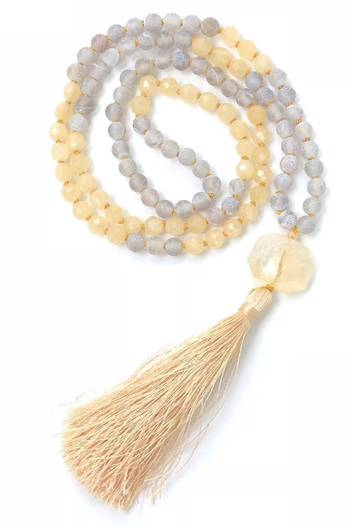 Yellow and Gray Mala with Citrine and Calcite