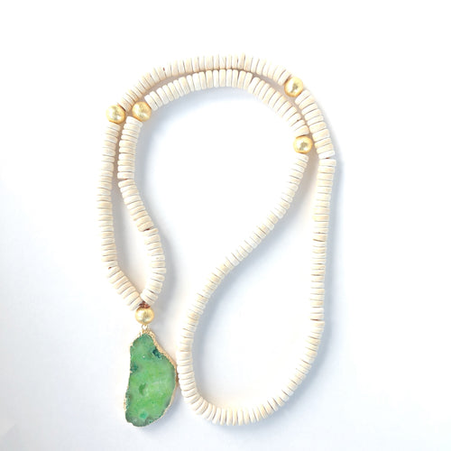 Green and White Coconut Necklace