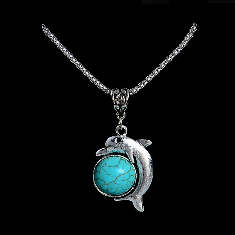 Turquoise Stone Dolphin Necklace