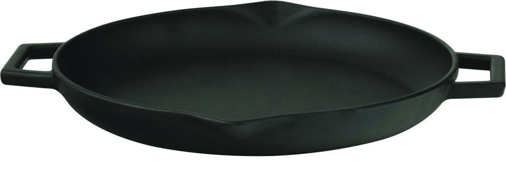"Enameled Cast Iron 12"" Round Grill Pan, Slate Black"