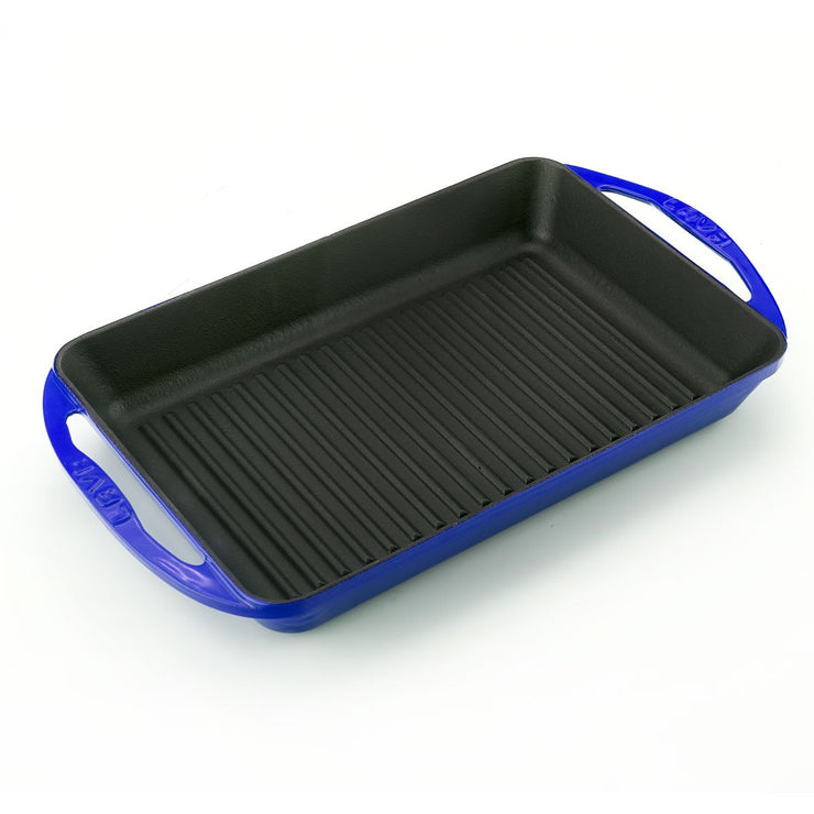 DEEP RECTANGULAR GRILL PAN | ENAMELED CAST IRON | BLUE | LAVA CANADA