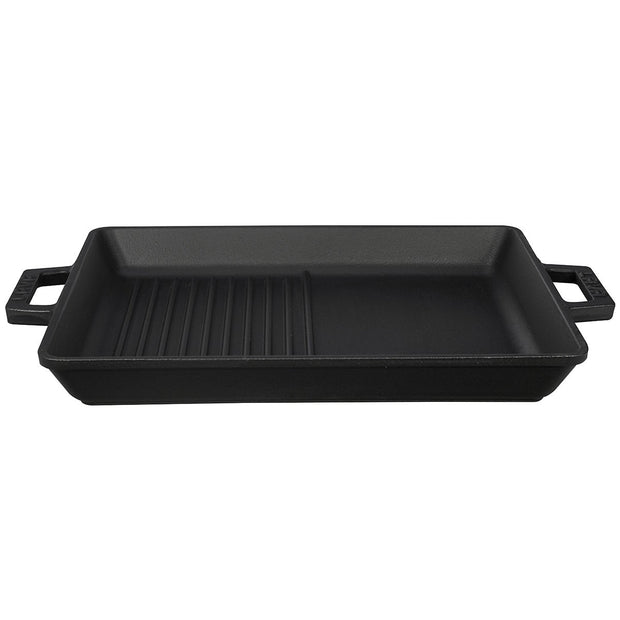 DOUBLE HANDLE  GRILL/GRIDDLE TRAY | ENAMELED CAST IRON | LAVA CANADA