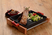 Kitchen - 26 X 32 CM GRILL/GRIDDLE TRAY W/ HANDLES & WOODEN SERVICE STAND