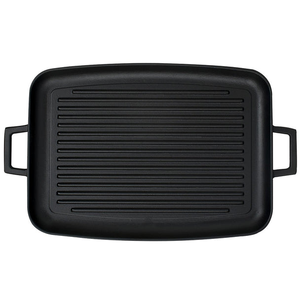 GRILL PLATE/DISH W/ HANDLES | ENAMELED CAST IRON | LAVA CANADA