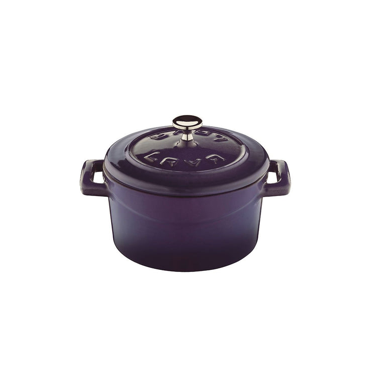 LAVA MINI CASSEROLE COCOTTE - PURPLE - ENAMELED CAST IRON - 10 CM