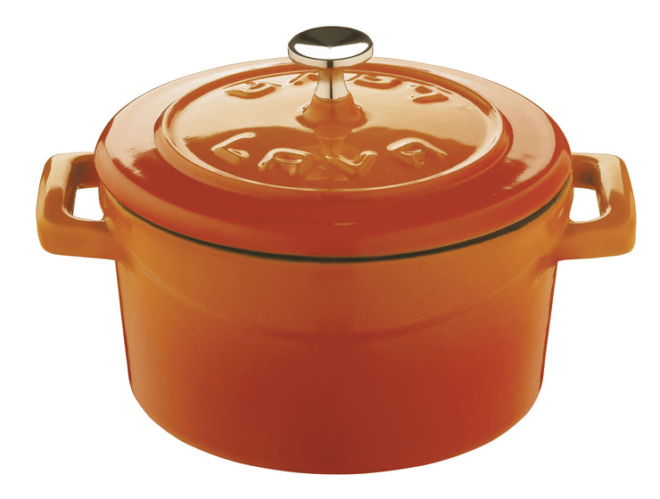 LAVA MINI CASSEROLE COCOTTE - ORANGE  - ENAMELED CAST IRON - 10 CM