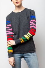 Zebra Rainbow Sleeve Cashmere Blend Sweater