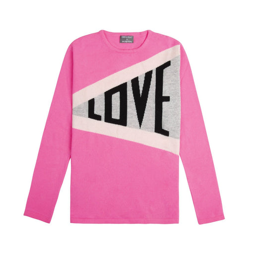 cashmere and wool blend women's love slogan sweater in neon pink