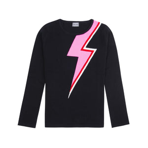 black cashmere and fine wool blend women's sweater with bright pink, red, and white lightning bolt across the body