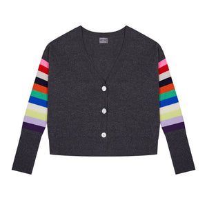 Rainbow Sleeve Cashmere Blend Cardigan