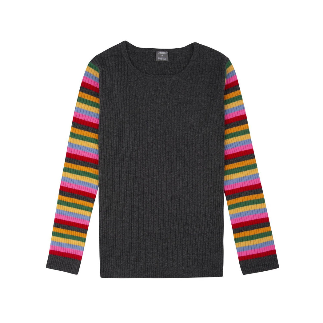 Rainbow stripe sleeve 100% recycled cashmere ribbed sweater in dark grey - COMING SOON