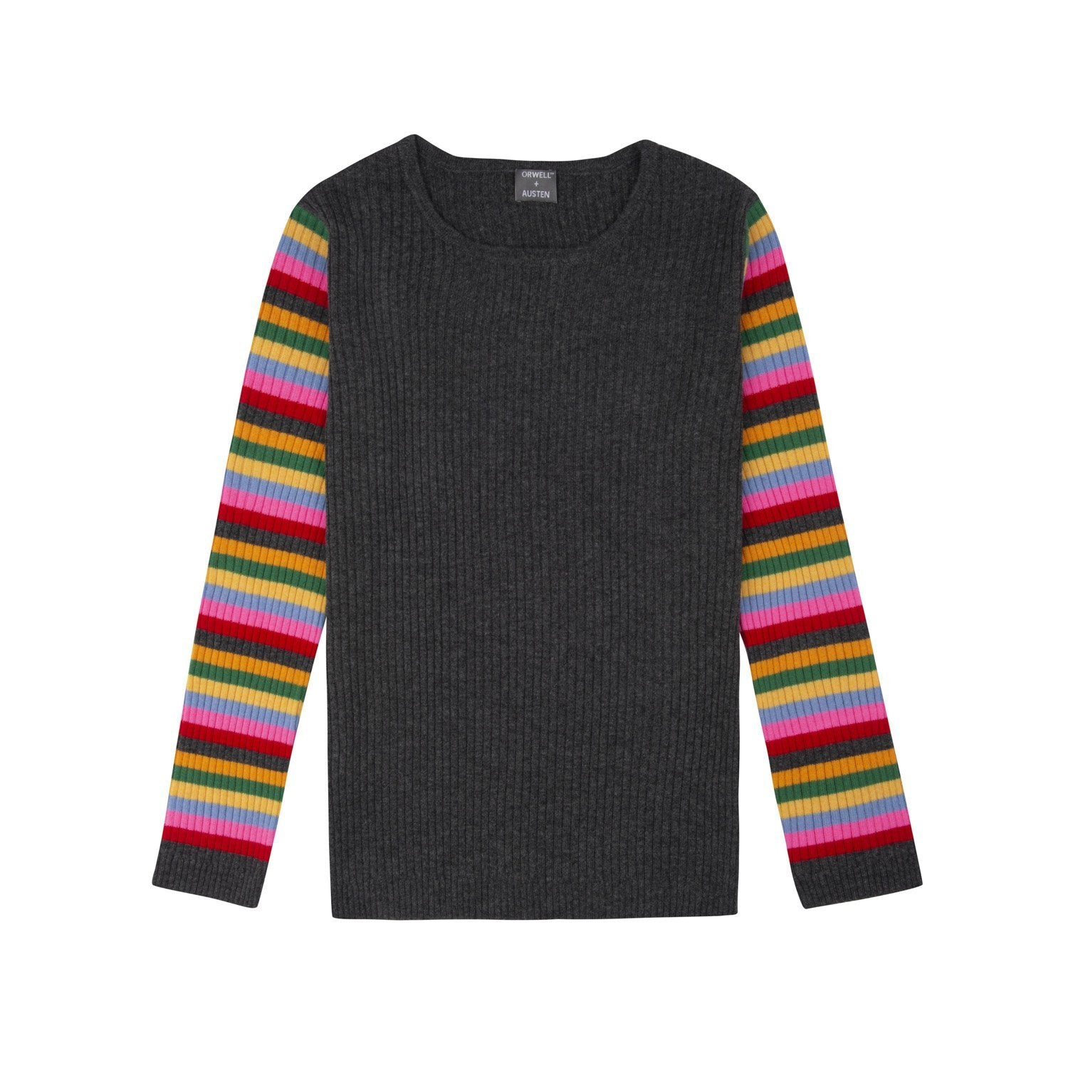 Rainbow Stripe Sleeve Ribbed Recycled Cashmere Sweater - Orwell + Austen