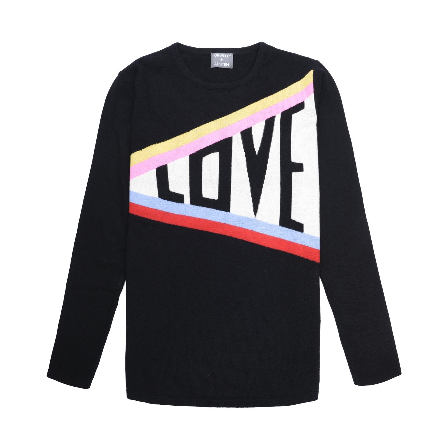 cashmere and wool blend women's sweater in black featuring love slogan with rainbow stripe