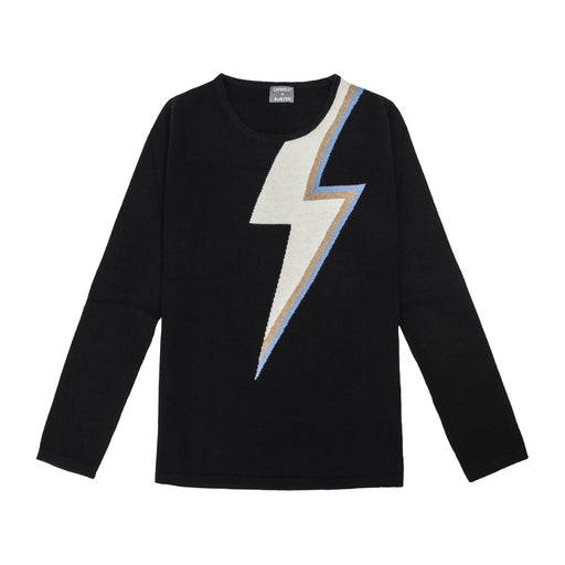 bowie lightning bolt cashmere ladies sweater in black with off white gold lurex and blue lightning bolt