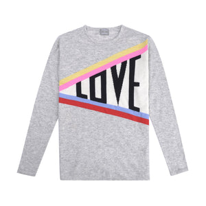 cashmere and wool blend women's light grey sweater with slogan love and rainbow stripes