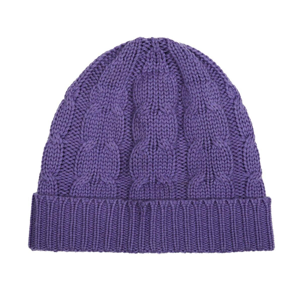 chunky cashmere wool blend women's beanie hat in lilac ethical sustainable brand piece