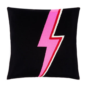Cashmere and fine wool blend 50cm x 50 cm cushion cover in black featuring a pink red and white david bowie inspired lightning bolt
